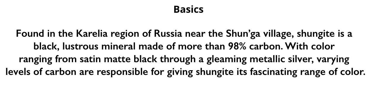 shungite Basics